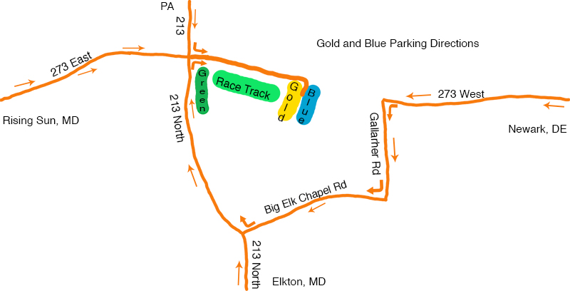 Gold Blue Parking Fair Hill Horse Racing